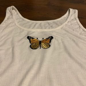 BUTTERFLY WHITE TANK TOP